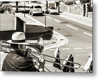 The Trombone Player Metal Print by Steve Purnell