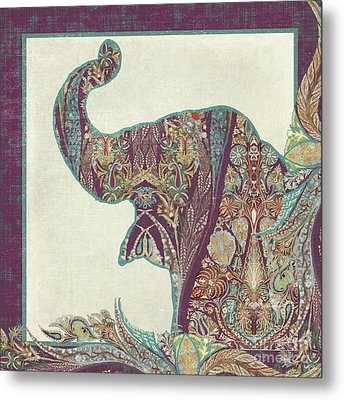 The Trumpet - Elephant Kashmir Patterned Boho Tribal Metal Print by Audrey Jeanne Roberts
