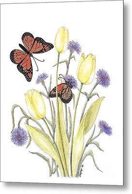 The Tulip And The Butterfly Metal Print by Stanza Widen