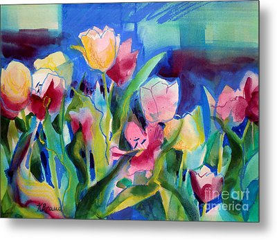 The Tulips Bed Rock Metal Print by Kathy Braud