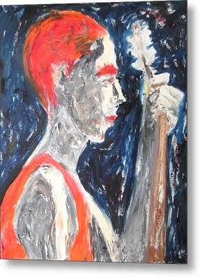 Metal Print featuring the painting The Turkish Baglama Player by Esther Newman-Cohen