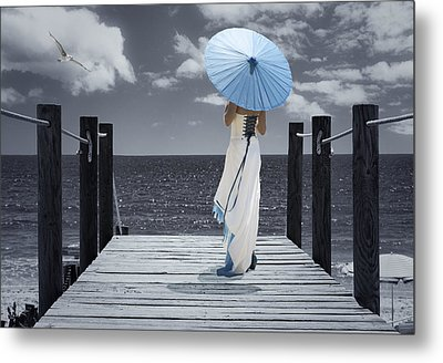 The Turquoise Parasol Metal Print by Amanda Elwell