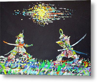 Metal Print featuring the painting The Two Samurais by Fabrizio Cassetta