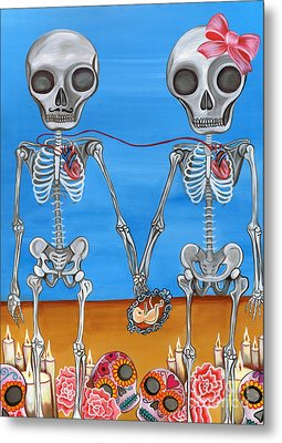 The Two Skeletons Metal Print