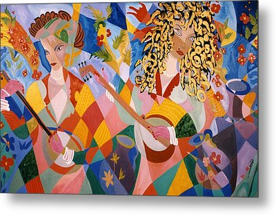 Metal Print featuring the painting The Two Women Musicians by Sima Amid Wewetzer