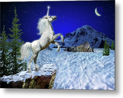 Metal Print featuring the digital art The Ultimate Return Of Unicorn  by William Lee