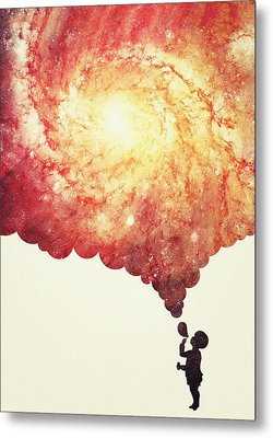 The Universe In A Soap Bubble Awesome Space Nebula Galaxy Negative Space Artwork Metal Print