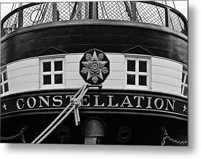 The Uss Constellation Navy Ship In Baltimore Harbor Metal Print by Marianna Mills
