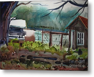 Metal Print featuring the painting The Vegetable Patch Matted Glassed Framed by Charlie Spear