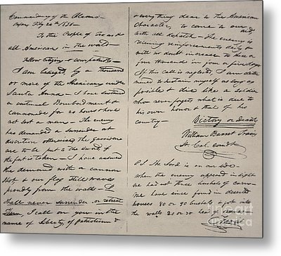 The Victory Of Death Letter Written By The Alamo Commander William Barret Travis, 1836  Metal Print