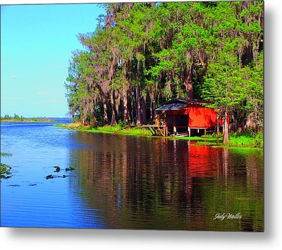 The View From The Bench Metal Print by Judy  Waller