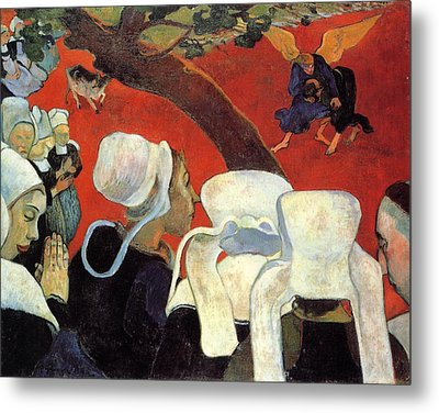 The Vision After The Sermon - Jacob Wrestling With The Angel Metal Print by Paul Gauguin