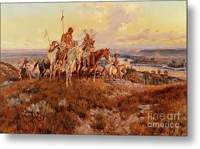 The Wagons Metal Print by Charles Marion Russell