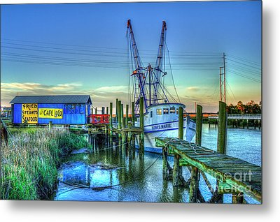 Metal Print featuring the photograph The Waiting Shrimper Tybee Island Dawn Art by Reid Callaway