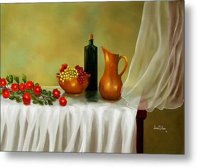 Metal Print featuring the painting The Waiting Table by Sena Wilson