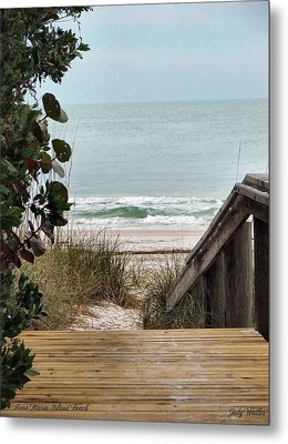 The Walkway To The Beach Metal Print by Judy  Waller
