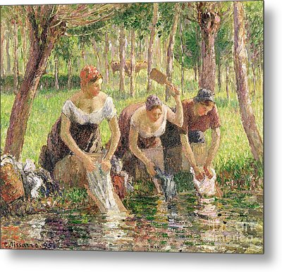 The Washerwomen Metal Print by Camille Pissarro