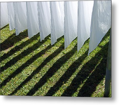 The Washing Is On The Line - Shadow Play Metal Print