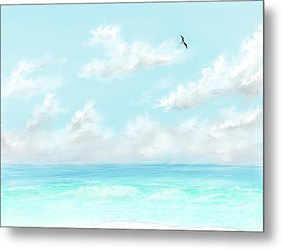 Metal Print featuring the digital art The Waves And Bird by Darren Cannell
