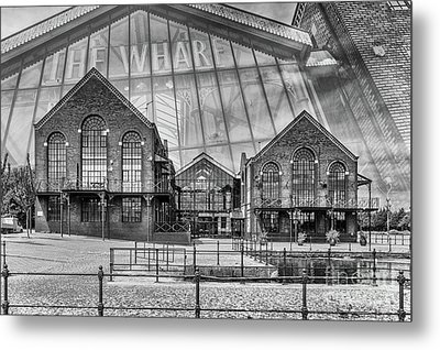 The Wharf Cardiff Bay Mono Metal Print