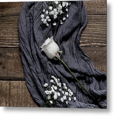 Metal Print featuring the photograph The White Rose by Kim Hojnacki