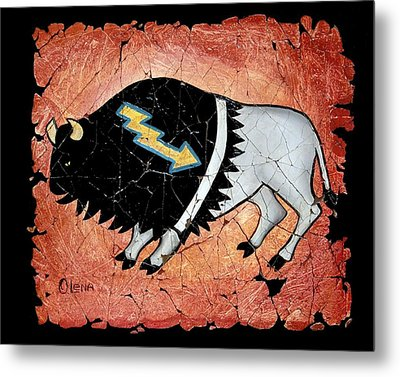 The White Sacred Buffalo Fresco Metal Print