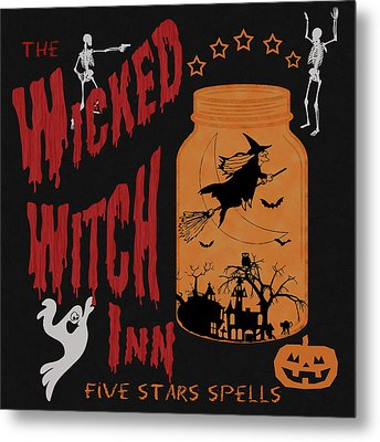 Metal Print featuring the painting The Wicked Witch Inn by Georgeta Blanaru