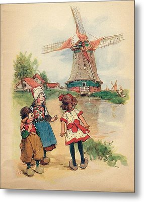 The Windmill And The Little Wooden Shoes Metal Print