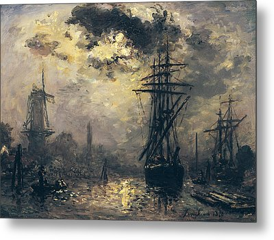 The Windmills In Rotterdam Metal Print by Johan Barthold Jongkind