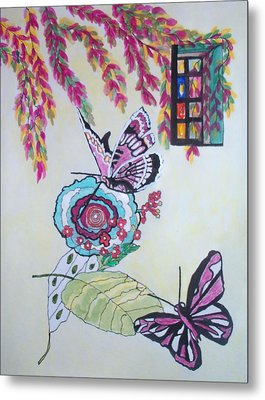 Metal Print featuring the painting The Window To The Butterfly World by Connie Valasco