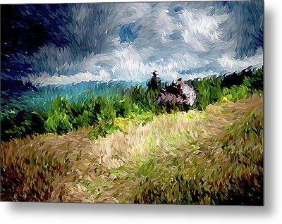 The Winds Come As Night Falls Impressionism Metal Print by Georgiana Romanovna