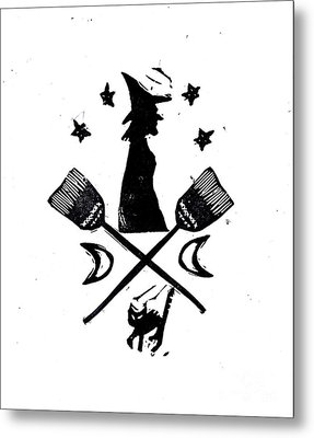The Witches Crest Halloween Silhouette Metal Print