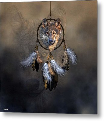 Wolf Spirit Dream Catcher Metal Print