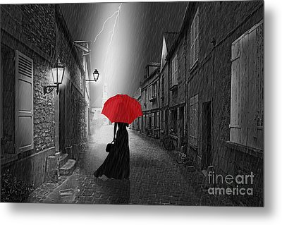 The Woman With The Red Umbrella Metal Print by Monika Juengling
