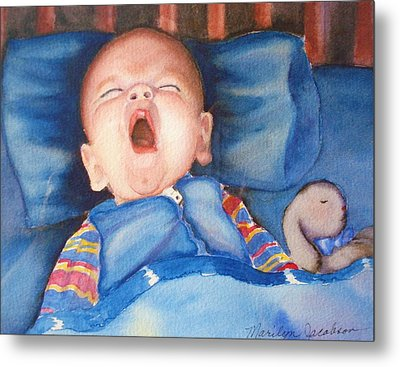 Metal Print featuring the painting The Yawn by Marilyn Jacobson