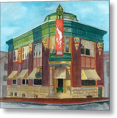 The Yellow Brick Bank Restaurant Metal Print by Lynne Reichhart