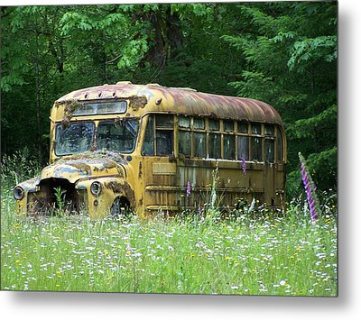 The Yellow Bus Metal Print by Gene Ritchhart
