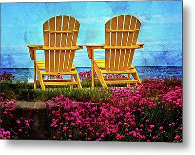 The Yellow Chairs By The Sea Metal Print