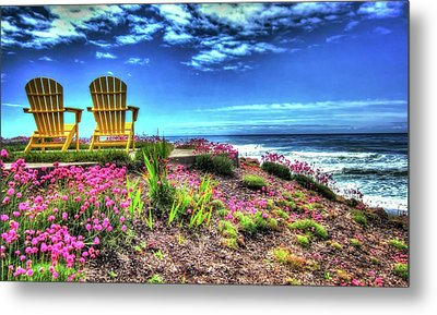 The Yellow Chairs By The Sea Version 2 Metal Print by Thom Zehrfeld