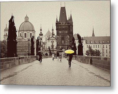 The Yellow Umbrella For Erin Metal Print