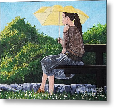 The Yellow Umbrella Metal Print by Reb Frost