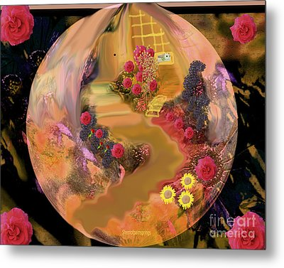 The Yettle Yellow House Metal Print