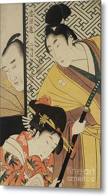 The Young Samurai, Rikiya, With Konami And Honzo Partly Hidden Behind The Door Metal Print by Kitagawa Utamaro