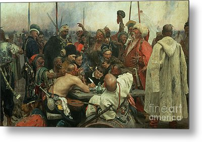 The Zaporozhye Cossacks Writing A Letter To The Turkish Sultan Metal Print by Ilya Efimovich Repin
