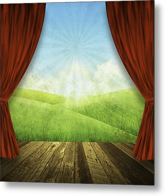 Theater Stage With Red Curtains And Nature Background  Metal Print by Setsiri Silapasuwanchai