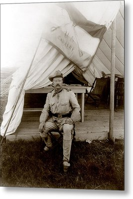 Theodore Roosevelt, Seated At Entrance Metal Print