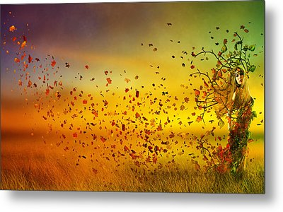 They Call Me Fall Metal Print by Mary Hood