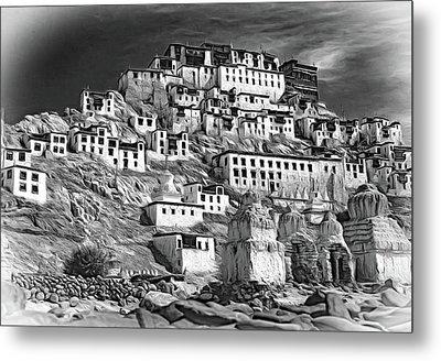 Thiksey Monastery - Paint Bw Metal Print by Steve Harrington