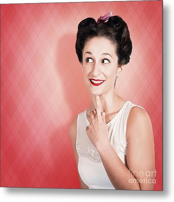 Thinking Fifties Pinup Girl With Old Hairstyle Metal Print by Jorgo Photography - Wall Art Gallery