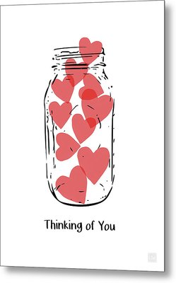Thinking Of You Jar Of Hearts- Art By Linda Woods Metal Print by Linda Woods